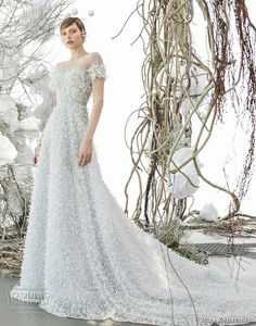 mira zwillinger 2018 bridal short sleeves off shoulder illusion bateau sweetheart neckline full embellishment romantic blue color a  line wedding dress royal train (aiden) mv