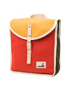 Ruby Trio Retro Backpack for Kids. A tribute to retro climbers bags. Durable, light and easy to carry. Apt for kids of all ages. Ready for school or sports! Made with natural, 600g cotton, red, yellow and brown fabric and natural leather details. Interior leather reinforcements. Nautical cotton drawstring for closure. Non abrasive metal buckles. Organic cotton adjustable handles. #ad