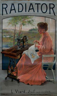 Vintage Sewing Machine Postcard