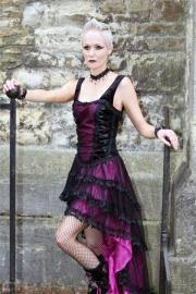 Velika AUBERGINE Satin Ribbon Laceup Fishtail Dress by Sinister