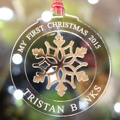 Personalised My First Christmas Tree Decorations Snowflake Bauble Gift - NIVI Design My First Christmas, Christmas Makes, Christmas Morning, Christmas Christmas, 3d Laser, Laser Cut Wood, Personalised Christmas Baubles, Christmas Tree Ornaments, Laser Cutter Projects