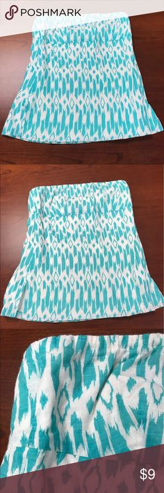 J. Crew Teal and White Strapless Tube Top Size 2 J Crew Teal and White Strapless Tube Top Size 2. Side zipper. Great condition ! J. Crew Tops