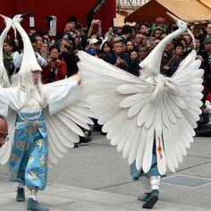 White crane dance in Asakusa, Tokyo