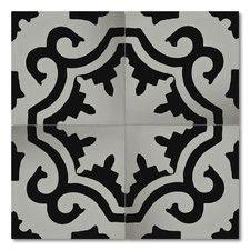 "Tanger 8"" x 8"" Handmade Cement Tile in Black and White"