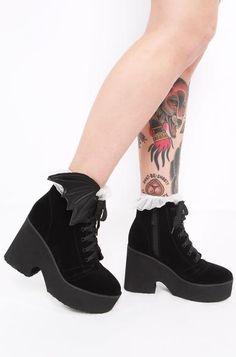 Bat Wing Boot - Black Velvet - Iron Fist Clothing