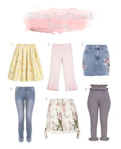 SS17 Fashion Essentials for any city break you have planned during the warmer months A mixture of skirts, shorts and toursers covering all the hot trends - gingham, embroidery and frills.