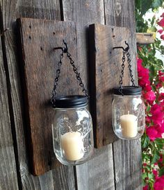 Barnwood mason jar candle holders SET OF TWO. door Thesalvagednail