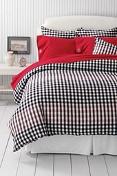 Land's End navy/white/red plaid flannel duvet  I like this for my bedroom.
