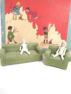 Strombecker Wood Living Room Doll Furniture Set, Green Couch & Chair, Lightly Flocked, Vintage Doll Accessories by UrbanRenewalDesigns on Etsy
