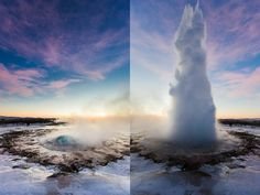 The #geysir in #iceland. #before and #after.  Second largest geysir or also know as the great geysir. Found on  golden circle not too far from #reykjavik.  It is an amazing feeling to be in below zero weather with almost boiling water near you and after the blow out you are surrounded by the warm mist of water.  Shot with a #canon 5d mark III  canon 16 - 35 f2.8L II mounted on a #mefoto #globetrotter tripod.  #canoncanada150 #icelandic #icelandtrip2016 Canada 150, Golden Circle, Tripod, Iceland, Canon, Zero, Waterfall, Travel Photography, Folk