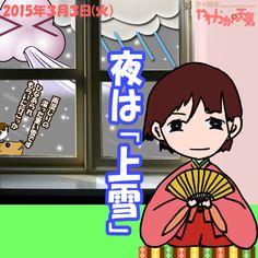 きょう(3日)の天気は「晴れ→夕方~雪・雨」。夕方頃には志賀高原や栄村など山沿いから雪が降り出す見込み。南風も強まって、夜中からは広い範囲で湿った雪や雨に。日中の最高気温はきのうより2度ほど高く、中野や飯山の市街地で7度くらい。