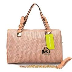 Michael Kors Woven Leather Large Pink Satchels Outlet - $75.99