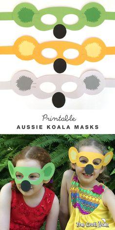 Printable Australian koala animal masks - for some Aussie fun this Australia day.
