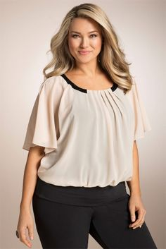 Plus Size Women's Fashion - Sara Beaded Batwing Top - EziBuy Australia