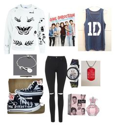 """One direction!"" by gurveenpanesar ❤ liked on Polyvore featuring River Island, Converse and Topshop"