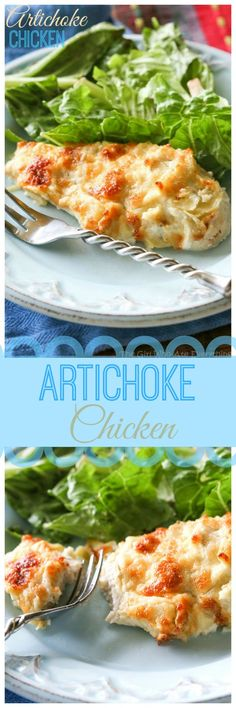 I've been making this Artichoke Chicken since college. With only a couple of ingredients, it tastes like artichoke dip on top of chicken.