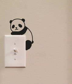 Cute Panda Light Switch Cute Vinyl Wall Decal Sticker Art