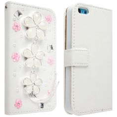 iPhone 5C - Mirror, Gem or Tassel Charm Bling Wallet Case in Choice of Designs - Thumbnail 4