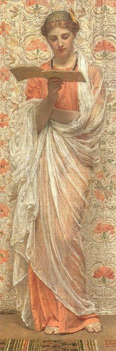 Uma leitora, 1877  Albert Joseph Moore ( Inglaterra, 1841- 1893)  óleo sobre tela colada em madeira  Coleção Particular