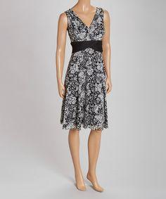 Look at this #zulilyfind! Black & Ivory Floral Empire-Waist Dress by Jessica Howard #zulilyfinds