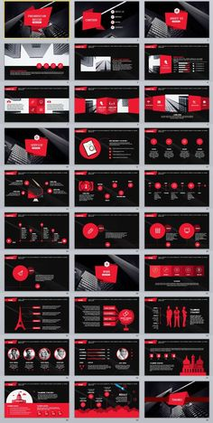 30+ Black Red Business data PowerPoint Template