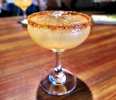 Starting our night with the house drink - the mango serrano infused margarita with a tajin rim #Gigasavvy