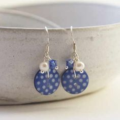 Royal Blue Spotty Button earrings