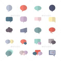 Speech Bubble and Chat Icon Set Of Abstract Vector Style Colorful Flat Icons — Vector EPS #thought #comment • Available here → https://graphicriver.net/item/speech-bubble-and-chat-icon-set-of-abstract-vector-style-colorful-flat-icons/19438066?ref=pxcr