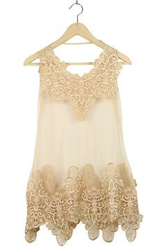 She Inside : Apricot Lace Tank Embroidery Dress $37.00 - This is absolutely stunning! Plus, this site has free shipping worldwide! How awesome is that?!?