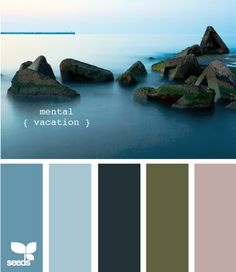 """Mental vacation"".  This lovely set of colors brings in an unusual dark brown and a light antique lavendar.  Nice!"