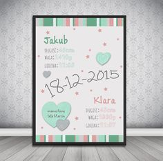 Metryczka / Plakat dla dziecka #plakat  #prezent #na #Ścianę #grafika #obrazek #dla #dziecka #pokój #pamiątka #handmade  #poster  #baby #pokojdziecka #memorabli #birthannouncement #babyroom #plakatydladziec #twins #bliźnięta