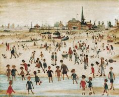Laurence Steven Lowry, at the seaside Seaside Art, British Seaside, Salford, English Artists, Oil Painting Reproductions, Art For Art Sake, Naive Art, Urban Landscape, Under The Sea