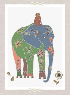 Indian Elephant & Monkey III Jungle nursery by piiapodersalu,