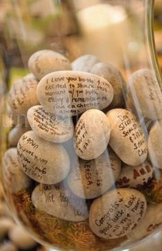 Have guest give you advice written on stones. Not only will they provide helpful hints for the marriage but a decorative vase as well