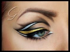 For those of you who want to make eyeliner art for a special occasion, include a silver and gold liner into the design to create an intense look! Source by blackradiancebe arten Punk Makeup, Kiss Makeup, Beauty Makeup, Hair Makeup, Makeup Style, Beauty Tips, Eyeliner Makeup, Crazy Makeup, Eyeliner Designs