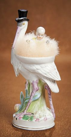 "The Vanity Fair - Strong Museum Half Dolls: 178 German Porcelain Powder Dish ""Top Hat Stork with Baby"""