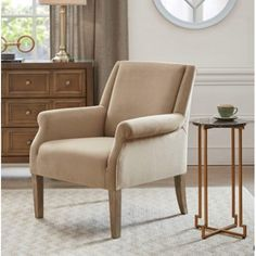 Tan Velvety Fabric Accent Chair Dining Room Chairs, Lounge Chairs, Velvet Furniture, Living Room Accents, Chair And Ottoman, Seat Cushions, Solid Wood, Accent Chairs, Fabric