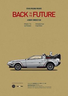 Car Illustrations from Famous Movies back to the future