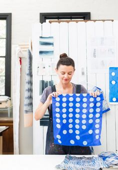 Sydney textile designer and shibori specialist Joanna Fowles in her Rosebery studio.  Photo – Phu Tang.