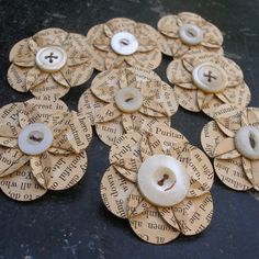 Vintage Flower Brooches | Recycled Vintage Book Page Paper Flower Brooch