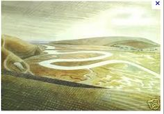 """""""""""The paths of the South Downs compel Ravilious's imagination; so does the light of the Downs: falling as white on green, possessing the combined radiance of chalk, grass blades & a proximate sea. Cuckmere Haven by the artist Eric Ravilious, born OTD, Landscape Art, Landscape Paintings, Classic Paintings, Oeuvre D'art, Les Oeuvres, Painting & Drawing, Drawing Drawing, Illustrators, Giclee Print"""