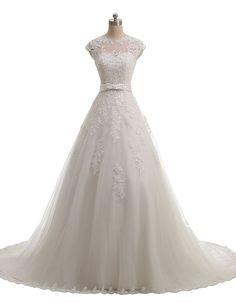 MIGUOO 2014 Vintage Long Wedding Dresses With Lace Straps US Size 18 700515