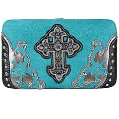 TURQUOISE STUDDED CROSS WESTERN DESIGN LOOK FLAT THICK CLASP COUNTRY WESTERN FASHION WALLET ** Check out this great product.