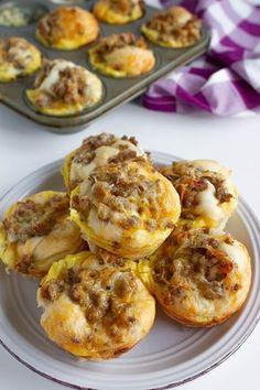 Breakfast Casserole Muffins, Breakfast Biscuits, Breakfast Dishes, Breakfast Recipes, Egg Muffins, Breakfast Ideas, Breakfast Strata, Brunch Dishes, Breakfast Burritos
