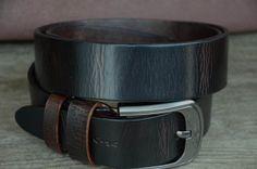 Men's Belt / Dark Brown / Cowhide Leather Belt / Distressed Belt / Tree Bark Grain Effect Belt / Durable Leather Belt / Gift For Man / by SherryJewelry, $27.00