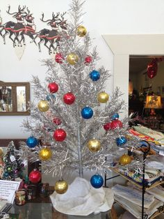Aluminum Christmas Tree ca1960 Silver Glow with Box and Sleeves Shiny Brite Ornaments Included on Etsy, $175.00