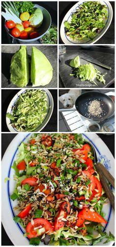 #Salat med babyblade, spidskål, tomater, solsikkekerner, forårsløg og sort sesam