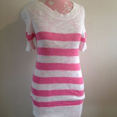 J.Crew White Pink Striped Short Sleeve 100% Cotton Crew Neck Knit Top Sweater XS #JCrew #Crewneck