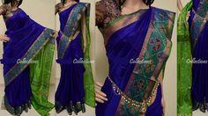 Blue colour Uppada silk sarees with pochampally border| uppada pattu