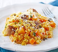 Sneak more veg into kids' diets with this easy, tasty rice dish - mash the sweet butternut squash if your little one doesn't like bits
